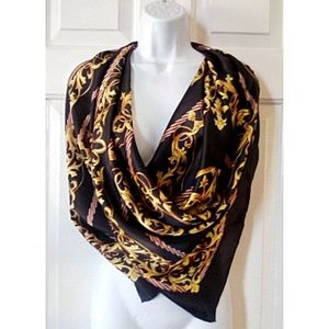 Large Vintage Silk Scarf Classic Print Rolled Edge